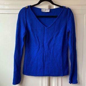 St. John Ribbed Knit Long Sleeve V-Neck Sweater S
